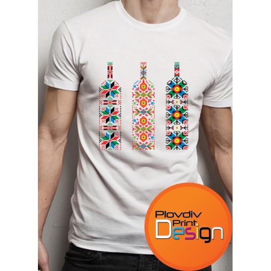 БЯЛА МЪЖКА ТЕНИСКА С ЕТНО МОТИВ ШЕВИЦА МОДЕЛ 17Plovdiv Print Design