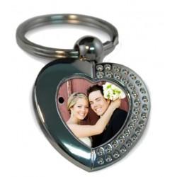 Метален ключодържател със снимка - сърце